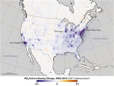 Как менялось содержание диоксида азота ватмосфере за10лет?