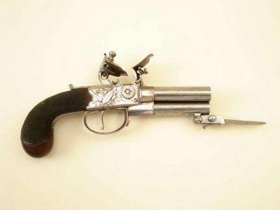 Многоствольные кремневые пистолеты с замком boxlock - «военные действия»