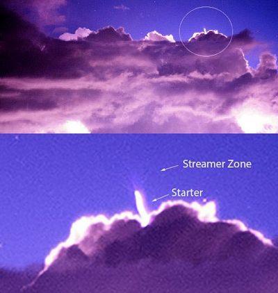 Получен снимок редчайшего явления: cиний стартер извершины облака