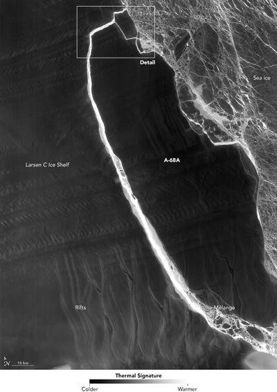 Спутник наса сделал снимок откола айсберга от ледника ларсен с